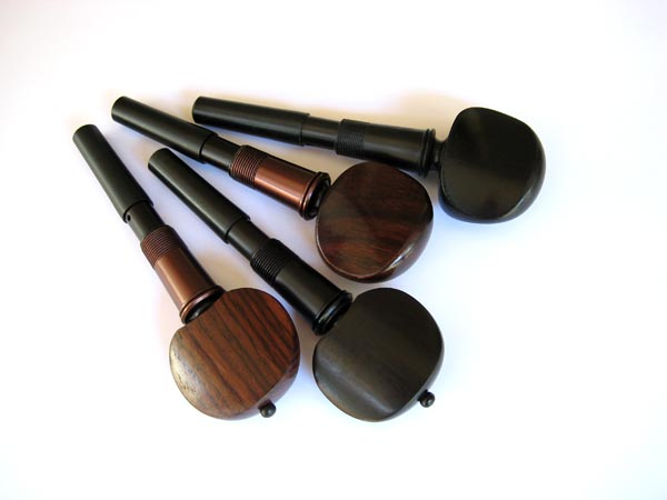 Cello pegs in ebony and rosewood, Swiss and Hill styles.